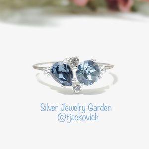 Two-Tone Blue Swarovski Sterling Silver Ring